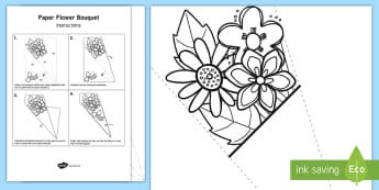Paper Flower Bouquet Colouring Activity -  Paper Flower Bouquet Colouring Activity - bouquet,  paper, colering, colourng, couloring, craft, ma