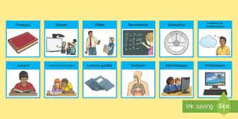 Emploi du temps visuel - Organisation,  matière, jour, activité, affiche, poster,French