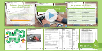 New Technologies Lesson 3: Advantages and Disadvantages of the Internet French - KS4, French, New Technologies, français, nouvelles technologies, computer, ordinateur, mobile phone