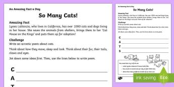 So Many Cats! Acrostic Poem Activity Sheet