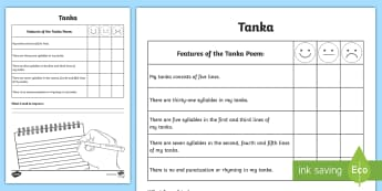 Writing a Tanka Poem Self-Assessment Tracker - poetry, poem, assessment, peer, self, writing