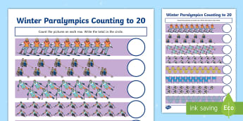 Winter Paralympics Counting to 20 Activity Sheet - worksheet, South Korea, PyeongChang, Snow Sports, International Events, Disability Awareness, Basic