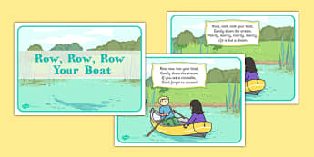 Row, Row, Row Your Boat Display Posters -  rhyme, song,