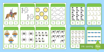 Nursery Rhymes Counting Clip Cards Activity -  counting peg cards, peg cards activity, one to one correspondence, number recognition, counting, Pi