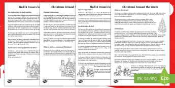 Christmas Around the World Reading Comprehension Activity English/French - christmas, comprehension, understanding, other cultures, india, japan, italy