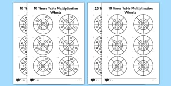 10 Times Table Multiplication Wheels Activity Sheet Pack - 10 times table, multiplication, wheel, activity, worksheet, times table, times tables