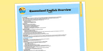 Queensland Curriculum Year 2 English Literacy Syllabus Overview - australia