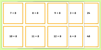Multiples of Eight Matching Cards - Number and Place Value, multiples, times tables, steps of, counting, problem solving, maths mastery,