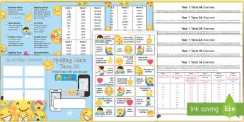 Year 1 Emoji Themed Spelling Menu Pack - Spag, Weekly, Lists, Gps, Home Learning, moji