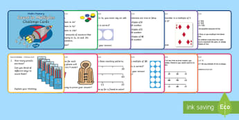 Year 1 Count in Multiples Maths Mastery Challenge Cards - Reason, Explain, Concrete, Pictorial, Abstract, CPA, Shanghai, Singapore.