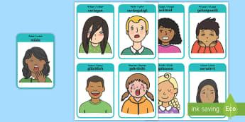 Deustch-Arabische Meine Gesichtsausdrücke Emotionen Wortschatz: Wort- und Bildkarten