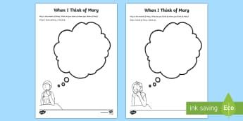 When I Think of Mary Junior Activity Sheet - May, Mary, Our Lady, Month of May, Religion, Catholic, Christianity, activity sheet,  ,Irish