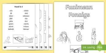 Fuaimean Fonaigs è Duilleag-Obrach - Cfe, Early Level, First Level, Letters, Sounds, Phonics, Gaelic Sounds, Gaelic Alphabet,Scottish wor