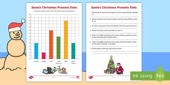 Year 2 Santa's Christmas Data Activity Sheet - maths, mathematics, year 2, statistics and Probability, Data representation and interpretation, grap