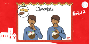 A4 British Sign Language Sign for Chocolate Left Handed - sign