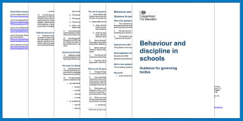 Behaviour and discipline in schools: Guidance for governing bodies - discipline, governors, training, policy, management, guide, environment, classroom, dfe