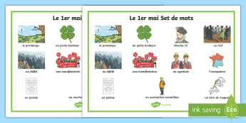 Set de mots : Le 1er mai - Le 1er mai, cycle 2, cycle 1,  KS2, 1st May, fête du travail, muguet, labour day, word mat, set de