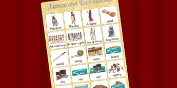 Theseus and the Minotaur Vocabulary Mat - story books, display