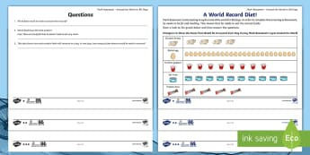 KS1 Around the World in 80 Days Food Graphs Activity Sheets - The World Challenge, 80, days, data, protein, weeks, months, world, cycle, cycling, bike, bicycle, p