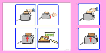 Sequencing Cards Making Toast - sequencing, cards, make, toast