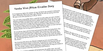 Kingdom of Benin: Yoruba Creation Story Print Out