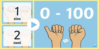 Zahlen und Zahlenworter von 0 bis 100 PowerPoint Präsentation - zählen, Zahlenwortschatz, Mathe, Mathematik, 0, 100, rückwärts zählen, Zahl,German