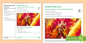 Carnival Foundation Tier Photo Card Activity Spanish - speaking, picture, talk, description, festivals, Oral, speaking test, unseen