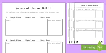 Volume of Shapes: Build It! (3) Activity - volume, cube, cubic, rectangular prism, height, width, length