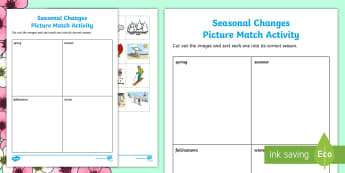 Seasonal Changes Picture Match Activity - Spring Resources, weather, seasons, environment, science and technology.
