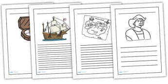 Christopher Columbus Writing Frame Standard LinedBlack and White - christopher columbus, writing frame, christopher columbus writing frames