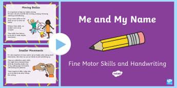 Handwriting and Fine Motor Skills Information PowerPoint - handwriting, parent information, fine motor skills, pencil grip, fine motor, capital letters, punctu