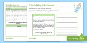 Birth Ceremonies Activity Sheet - Birth ceremonies, Infant baptism, Sikh naming ceremony, confirmation, religious community, baptismal