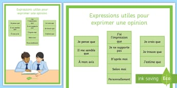 Opinion Phrases Display Poster-French - KS3, KS4, French, Opinions, display, poster, avis,French, ustifying points of views,  Expressing opi