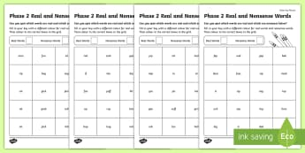 Phase 2 Colour by Phoneme Real and Nonsense Words Worksheet / Activity Sheets - Phase 2 Colour by Phoneme Real and Nonsense Words Worksheet / Activity Sheets - phase 2, colour, phoneme, real,