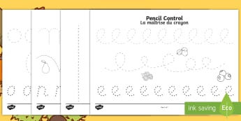 Harvest Pencil control Activity Sheets English/French -   motor skills, pencil control, Worksheets, activity sheet, EAL French,