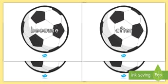 Conjunctions on Soccer Balls Display Posters - conjunction, soccer balls, display, posters, bulletin board, word work, vocabulary, key words, sente