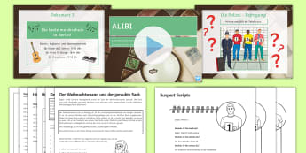 Santa and the Stolen Sack Differentiated Activity Pack German - Christmas, Crime, KS3, KS4, Creative, Group work, ,German