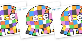 Modifying E Letters on Patchwork Elephant to Support Teaching on Elmer - Modifying E, letters, modify, Phase 5, Phase five, alternative spellings for phonemes, DfES letters and Sounds