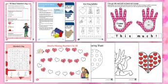 Valentine's Day F-2 Resource Pack - valentine's day, valentine, saint valentine, st valentine, love, february, display, worksheets,