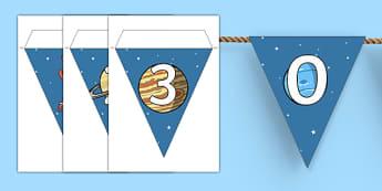 Guirlande de fanions : Les nombres 0 à 30  - L'espace - numération, mathématiques, maths, compter, planète, astronaute