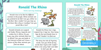 EYFS Ronald the Rhino Home Learning Challenges Reception FS2 - Ronald the Rhino, Twinkl story book, animals, jungle, endangered, africa, homework, home learning, p