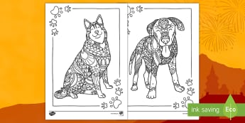 The Year of the Dog Mindfulness Colouring Pages - popular pets, chinese new year, dog colouring sheets, mindfulness sheets, animals from Chinese new y