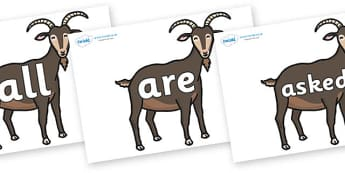 Tricky Words on Big Billy Goats - Tricky words, DfES Letters and Sounds, Letters and sounds, display, words