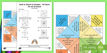 Back to School Ice Breaker All About Me Out of School Fortune Teller Game Te Reo Māori - Back to School, Icebreaker, All About Me, Fortune Teller, Ko Ahau, Game, Kēmu