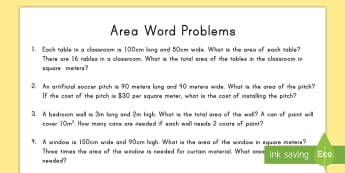 Word Problems Using Area Activity Sheet - metric, worksheet, problem solving, measurement, comparison, centimeters, meters, shape,