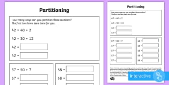 Partitioning in different ways Go Respond Activity Sheet - year 2, maths, homework, place value, partitioning, tens, ones, units, number facts, related number
