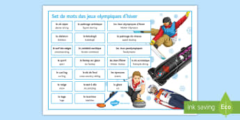 Winter Olympics Word Mat French - jeux, olympiques, vocabulaire, sports, hiver, words, vocabulary, mots,French