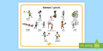 PE Games Word Mat English/Italian - PE Games Word Mat - EAL, EASL, Physical Education, word mat, EAL, wriggle and crawl, wordmat