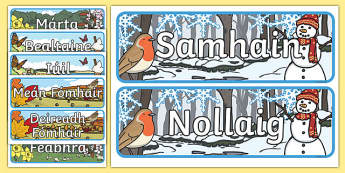 Months of the Year With Seasons Theme Display Posters Gaeilge - gaeilge, months, year, seasons, display, posters