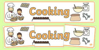 Cookery Display Banner - cook, cookery, banner, display, poster, sign, pan, oven, kitchen, cooking utensils